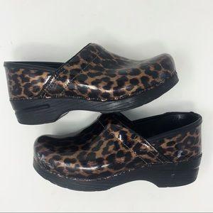 Dansko Cheetah Glossy Clogs Size 39